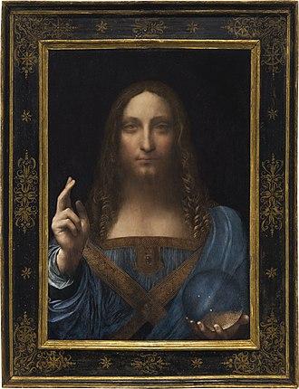 Salvator Mundi (Leonardo) - Leonardo da Vinci, c.1500, Salvator Mundi (framed)