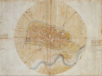 Leonardo da Vinci - Leonardo's very accurate map of Imola, created for Cesare Borgia