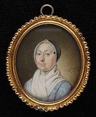 Portretminiatuur van een oudere vrouw