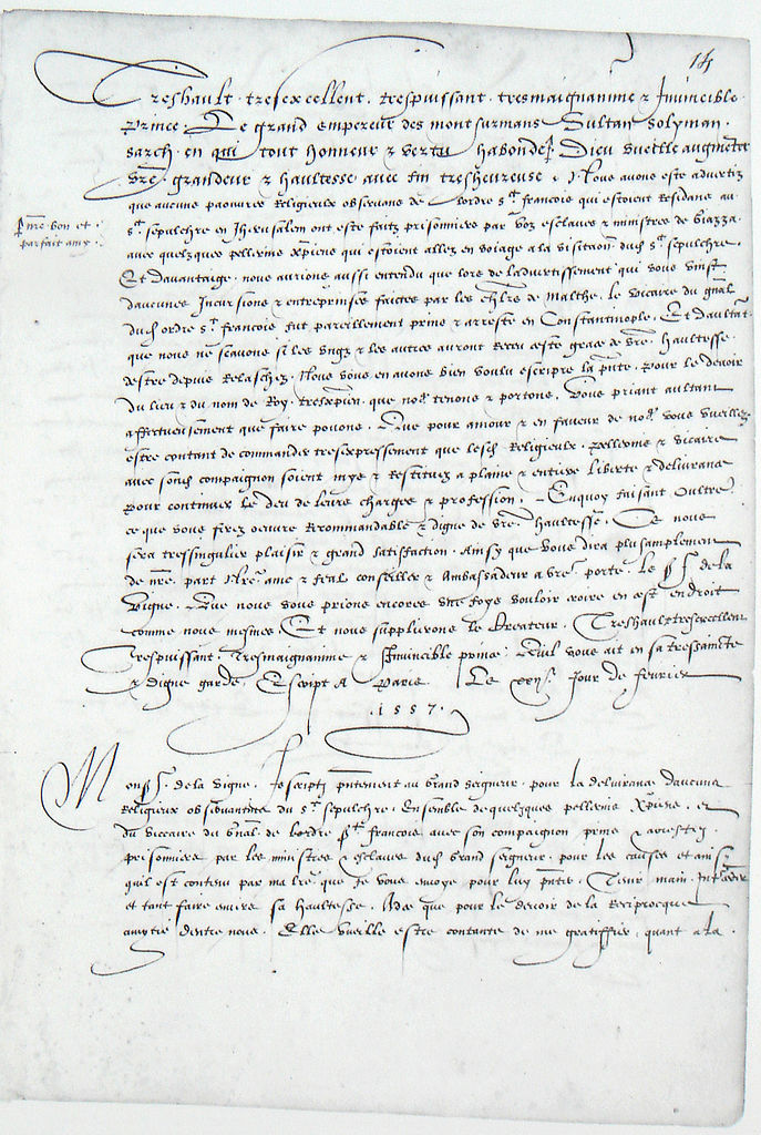 File:Letter from Henry II of France to Suleiman and ambassador de la Vigne 22 February 1557.jpg