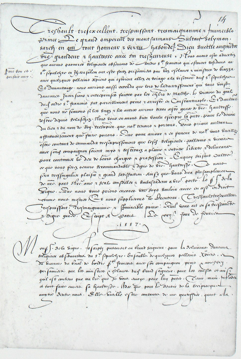 Letter from Henry II of France to Suleiman and ambassador de la Vigne 22 February 1557