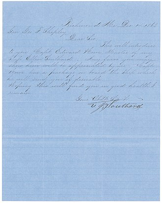 Ellen Southard - Letter of introduction for Captain Howe from T.J. Southard to General George F. Shepley during the American Civil War