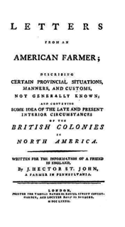 <i>Letters from an American Farmer</i> book by J. Hector St. John de Crèvecœur