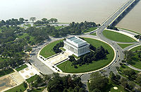 Aerial view of the Lincoln Memorial