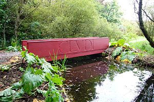 "Little Sparta - The ""CLAUDI"" bridge in the sculpture garden"