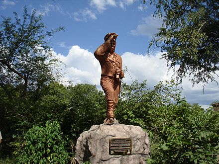 A new statue of David Livingstone on the Zambian side of Victoria Falls Livingstone statue2.jpg