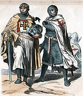 Painting of two crusaders looking in different directions, one holding a sword