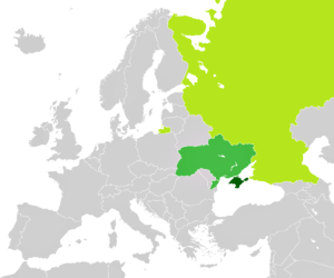 La Crimée (vert foncé), disputée entre l'Ukraine (vert moyen) et la Russie (vert clair)