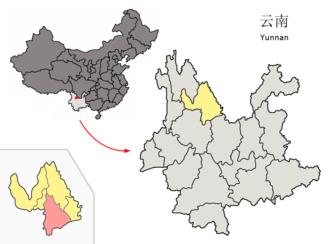 Yongsheng County - Image: Location of Yongsheng within Yunnan (China)