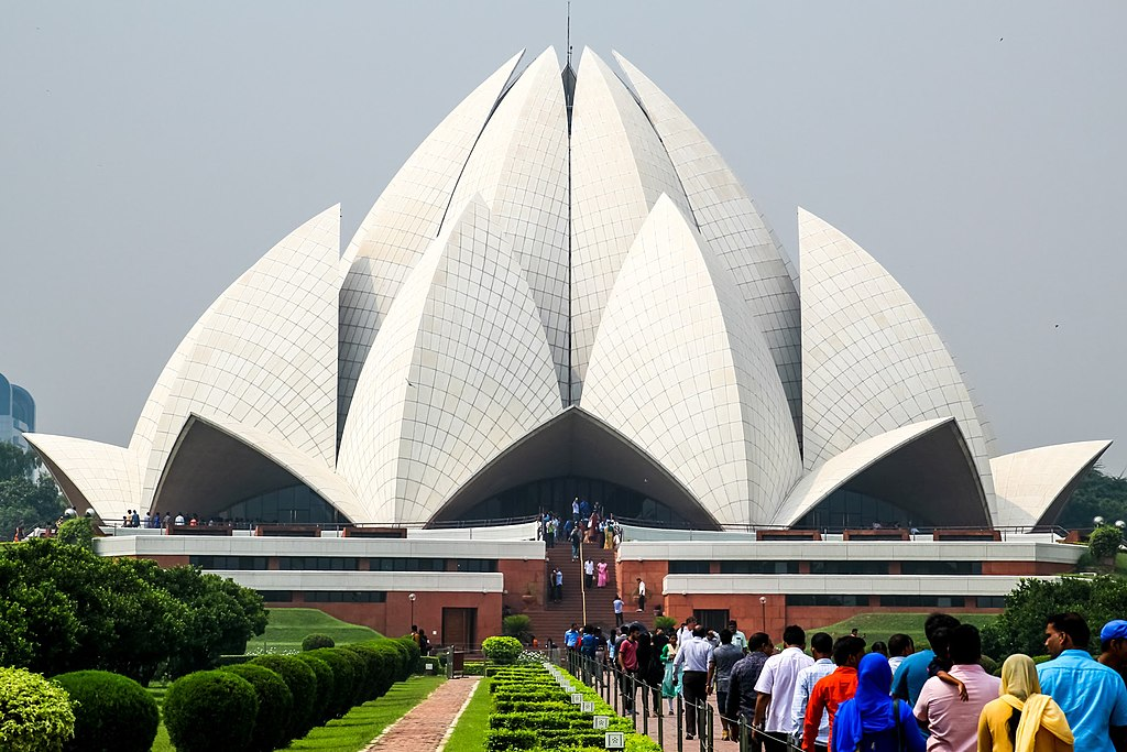 Lotus Temple, located in Delhi, India, is a Bahá'í House of Worship