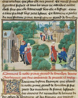 Loyset Liédet - Loyset Liédet - Gerard and Bertha Find Sustenance at a Hermitage, Tempera colors, gold leaf, and gold paint on parchment, J. Paul Getty Museum, written 1463 -1465; illuminated 1467 - 1472