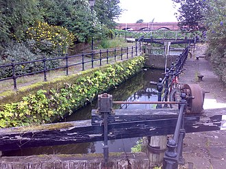 Manchester and Salford Junction Canal - The canal stub viewed north towards the junction with the River Irwell