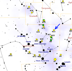 Messier 23 - Map showing the location of M23