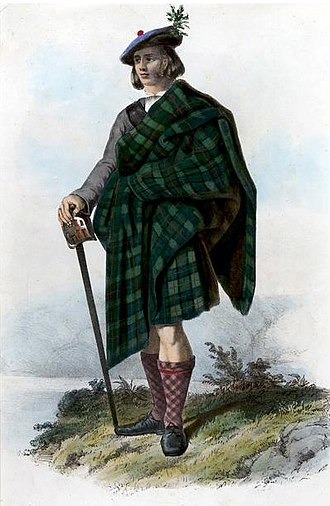 Clan MacLeod of Lewis - A Victorian era, romanticised depiction of a member of Clan Macleod by R. R. McIan, from The Clans of the Scottish Highlands, published in 1845. The tartan depicted is based upon the Mackenzie tartan, the Mackenzies conquered Lewis from the Macleods of Lewis.