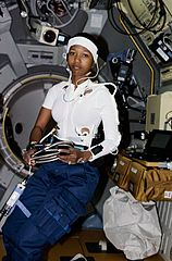 Mae Jemison floating in space during STS-47.jpg