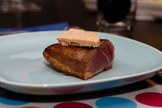 Duck as food - Duck breast topped with foie gras