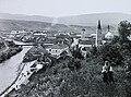 Magyar Királyság, Breznóbánya, balról a Garam folyó, a Várostorony, az evangélikus templom és a római katolikus templom. Fortepan 95141.jpg