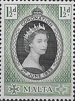 A 1953 Malta stamp with portrait of Queen Elizabeth II Malta-Queen-Elizabeth-II-Coronation-Stamp-1953.jpg