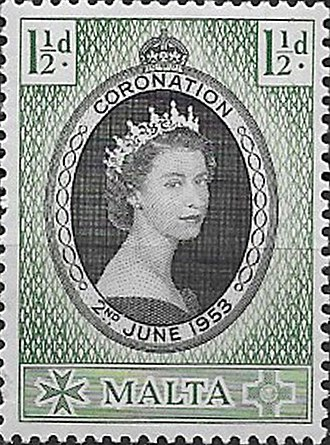 Crown Colony of Malta - A 1953 Malta stamp with portrait of Queen Elizabeth II