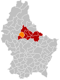 Map of Luxembourg with Feulen highlighted in orange, the district in dark grey, and the canton in dark red