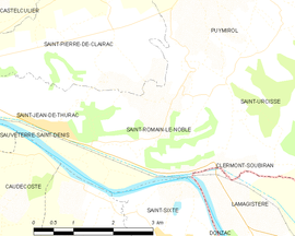 Mapa obce Saint-Romain-le-Noble