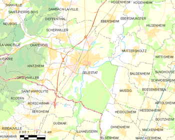 Map of the commune of Sélestat
