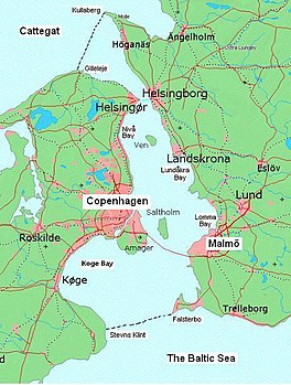 Map of the Øresund region