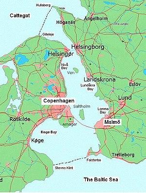 Øresund - Øresund, showing its northern and southern boundaries.