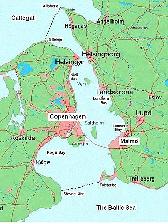 Øresund - Øresund, showing its northern and southern boundaries.