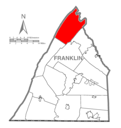 Map of Franklin County, Pennsylvania Highlighting Fannett Township.PNG