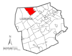 Map of Luzerne County highlighting Lake Township