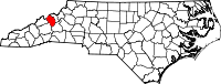 Map of North Carolina highlighting Yancey County