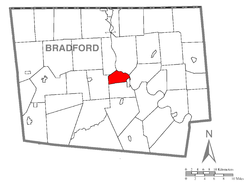 Map of Bradford County with North Towanda Township highlighted