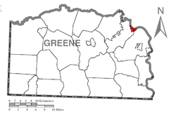 Location of Rices Landing in Greene County