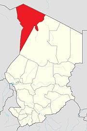 Map of Chad showing Tibesti.