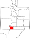 State map highlighting Piute County