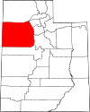 State map highlighting Tooele County