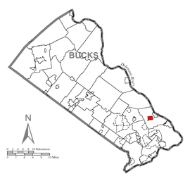 Map of Woodside, Bucks County, Pennsylvania Highlighted.png