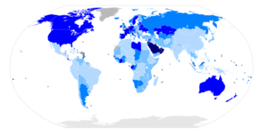 Immigrant paradox - Map of the world with countries coloured according to their immigrant population as a percentage of the whole population, based on the UN's World Population Policies 2005 data.
