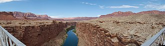 Marble Canyon - A panoramic view of Marble Canyon from Navajo Bridge.