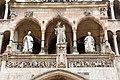 Marco romano (attr.), madonna col bambino tra i ss. omobono e imerio (xiv sec.), su scuola dell'antelami, mesi e lastra del vescovo sicardo (1220-30 ca.).jpg