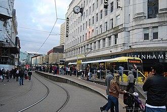 Market Street tram stop - Image: Market Street tram stop, N Chadwick, Geograph 3823470