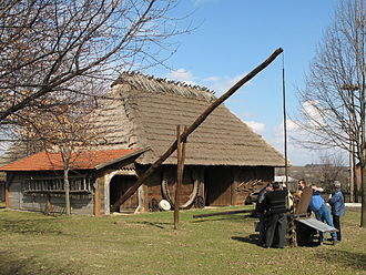 Water well - A dug well, large shadoof (well sweep), and old barn in Markowa, Poland