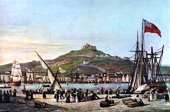 Marseille seaport, around 1825. Artist: Garneray.