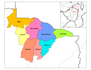 Mashonaland Central Province - Districts of Mashonaland Central