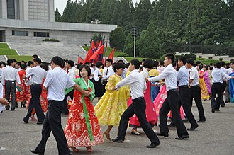 Day of the Foundation of the Republic (North Korea) - Image: Mass Dance on National Day (10104371223)