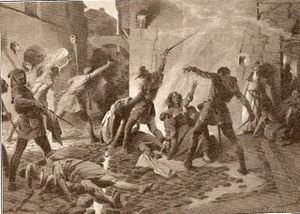 Expulsion of Jews from Spain - Slaughter of Jews in Barcelona in 1391 (Josep Segrelles, c. 1910).