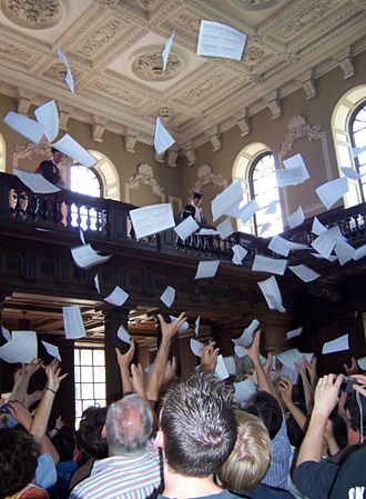 Mathematical Tripos - Results for parts II and III of the Mathematical Tripos are read out inside the Senate House, Cambridge, and then tossed from the balcony
