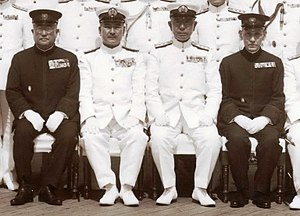 Mineichi Koga - Tsuneo Matsudaira, Shigetarō Shimada, Mineichi Koga, and Saburō Hyakutake in the deck of the battleship Musashi, June 1943