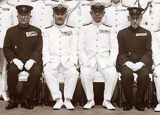 Saburō Hyakutake - Tsuneo Matsudaira, Shigetarō Shimada, Mineichi Koga, and Saburō Hyakutake, aboard Battleship Musashi, 24 June 1943